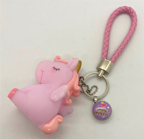 "Pink Unicorn Keychain With ""Mommy's Princess"" Snap"