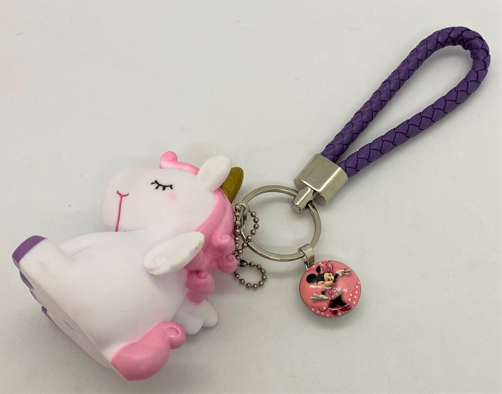 "White Unicorn Keychain With ""Mini Mouse"" Snap"