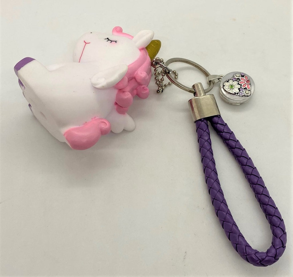 White Unicorn Keychain With Flowered Heart Snap