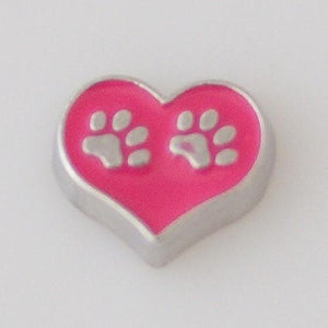 Charm - Pink Heart With Paw Prints