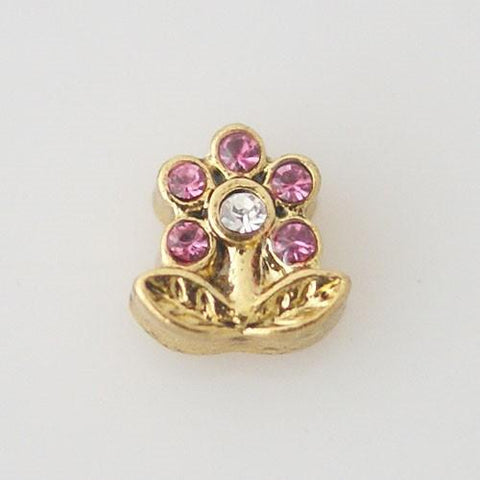Charm - Pink Flower (in gold)