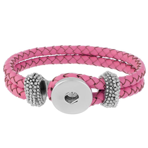 Bracelet - Braided Leather - Pink