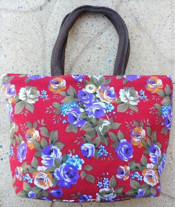 Floral Tote Bag - Red