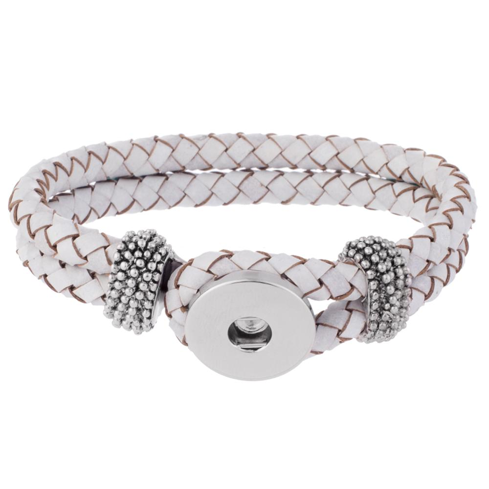 Bracelet - Braided Leather - White