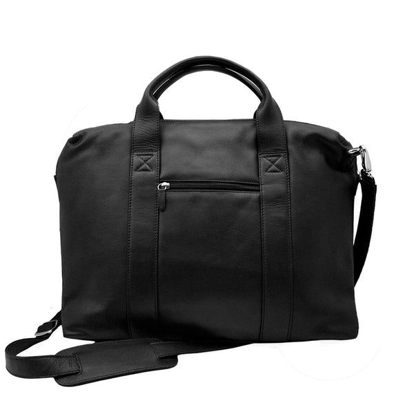 GENUINE LEATHER TOP ZIP BRIEFCASE