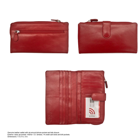 Women's Wallet_with zip around phone pocket and tab closure