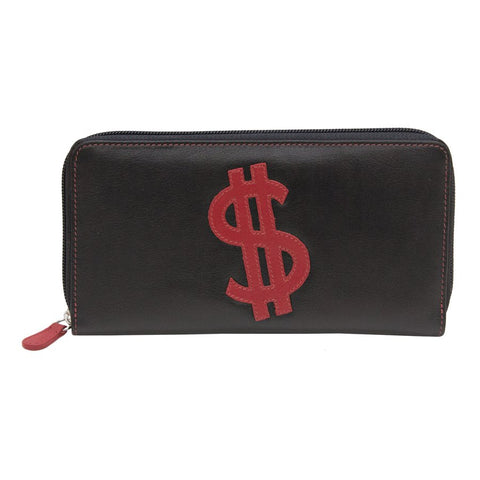 Women's Wallet with zip around wallet with dollar sign stitched on front