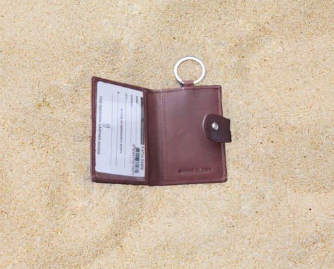 Genuine Leather Key fob with Credit card holder with ID Window
