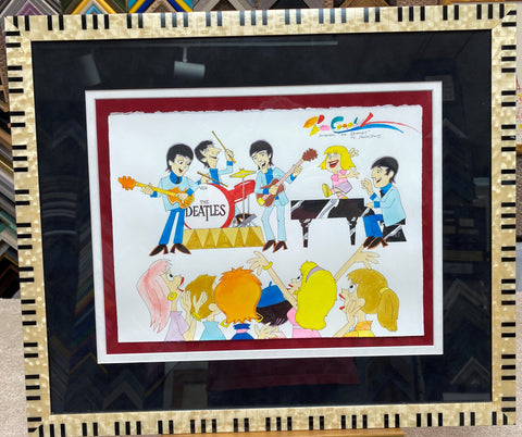 Beatles Performing with Fans Framed Original Painting - Ron Campbell