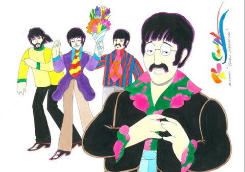 Yellow Submarine Beatles with Paul Holding Flowers - Ron Campbell