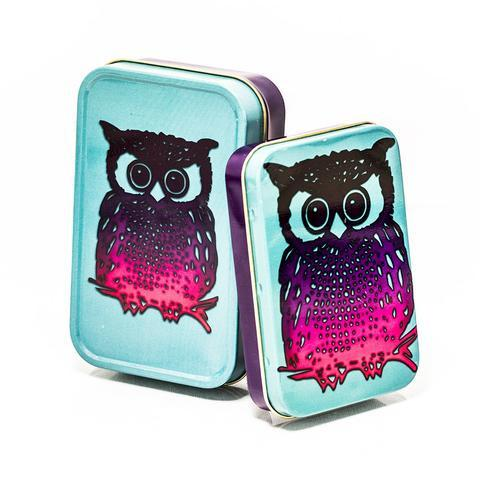 METAL TIN - OWL SET OF 2