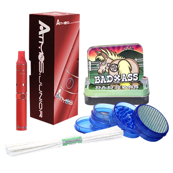 $45 GIFT PACK - ATMOS JUNIOR RED, TIN, GRINDER, PIPE CLEANER - ONLINE ONLY