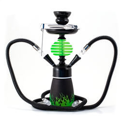 Black with green flames 2 hose Hookah Pipe