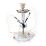 White Hookah with flames 2 hose