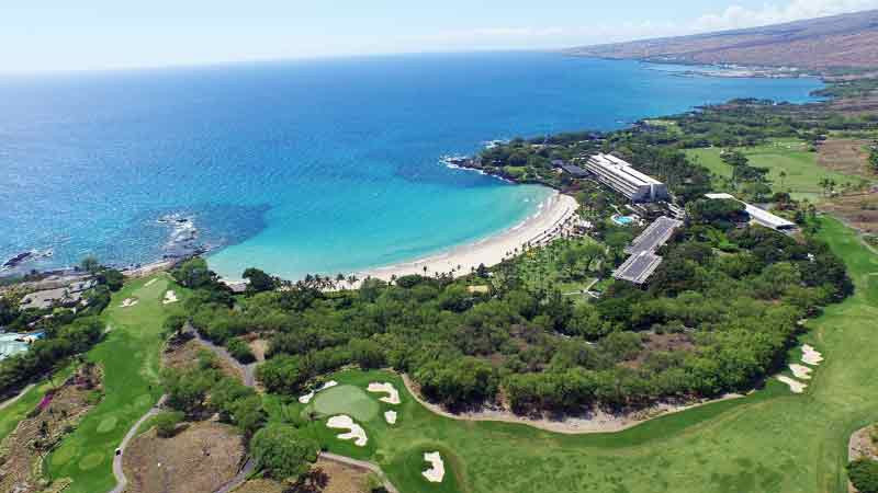 Mauna Kea Bay Drone shot from Hawaii Tee Times