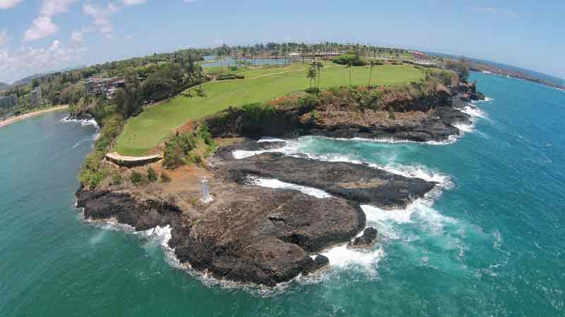 Kauai Lagoons Drone View 16th Hawaii Tee Times