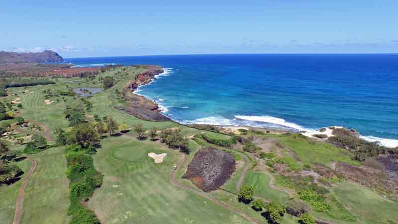 Poipu Bay  views from drone  hawaii tee times