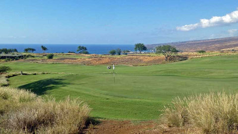 Looking at the 1st green at Hapuna Golf Course.