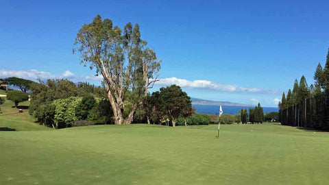 Kapalua Bay 6th green with great view of Molokai in background