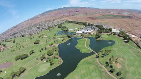 Aerial view of Kapolei golf course with Hawaii Tee Times Drone