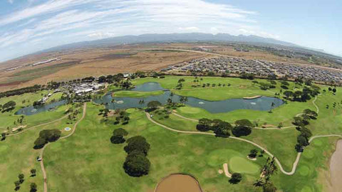 Aerial View of Kapolei back nine holes from HTT Drone