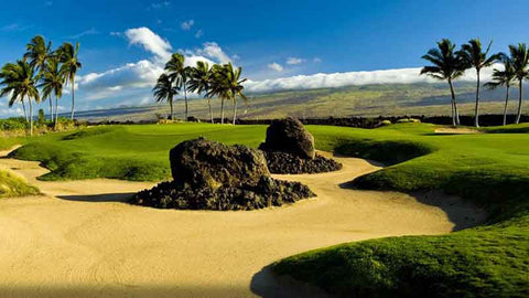 Views from the signature 5th hole at Waikoloa Kings Course