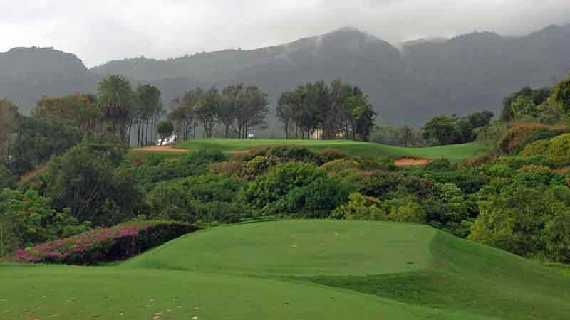 The 5th hole at Kauai Lagoons must fly over a jungle below