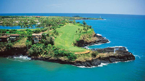 16th hole from the air at Kauai Lagoons Hawaii Tee TImes