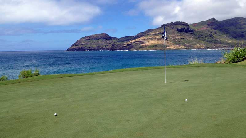 the 14th green at Kauai Lagoons