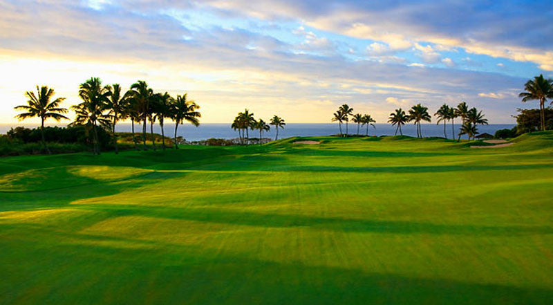 Kauai Lagoons Golf Club 13th fairway at sunset