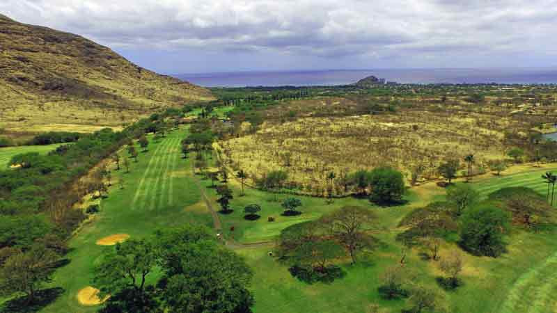 Makaha Valley front nine aerial drone shot