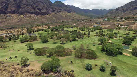 Makaha Valley Back 9 drone aerial shot