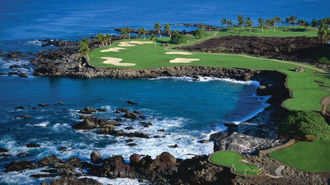 Mauna Lani South Magnificent 15th hole from drone