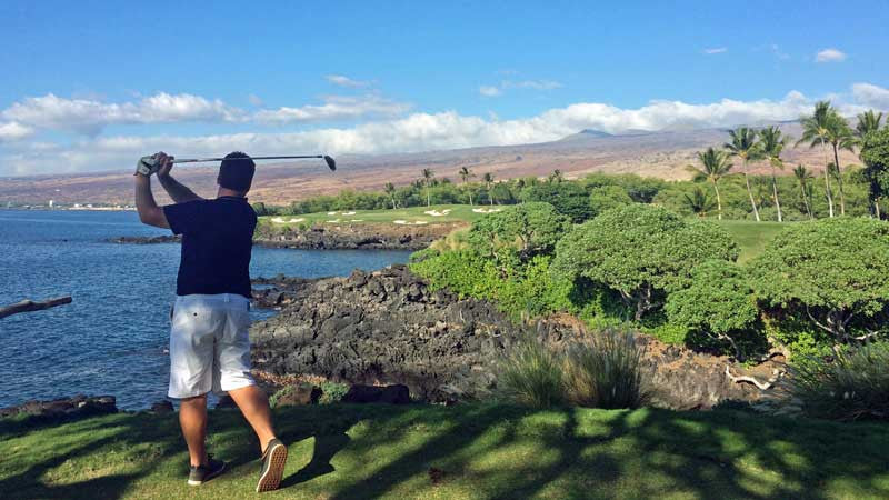 Teeing of from the back tees  Mauna Kea