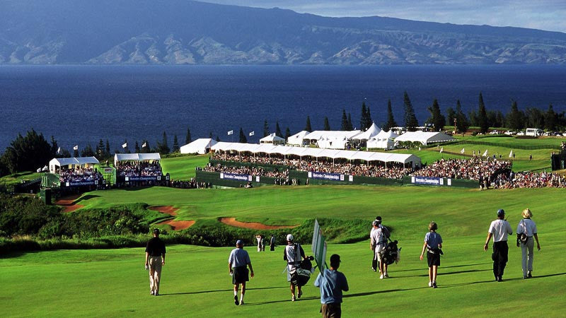 Kapalua Plantation Golf Hyundai tournament walking down  to green