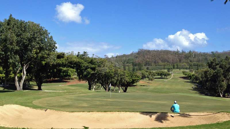 Olomana 18 green from clubhouse