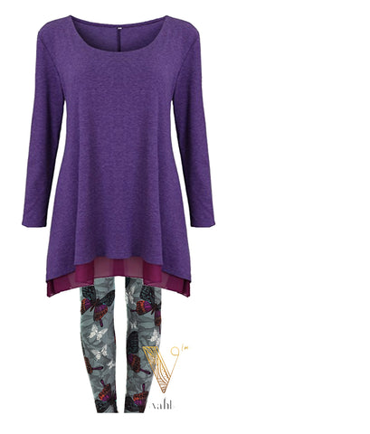 Leggings Outfit - Flowy Purple Tunic