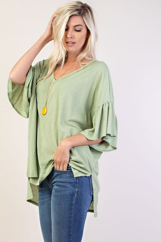 Ruffle Sleeve Side Split Tunic : Misses