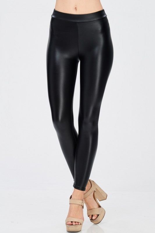 Misses Black Pleather Legging: Small