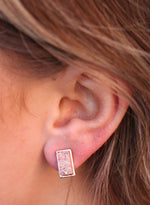 Rectangular Druzy Earrings : Pink Opal | Caroline Hill - VAHL