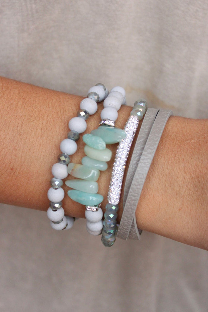 Leather, Bead and Pave Bar Bracelet : Grey | Caroline Hill - VAHL | VAHL
