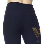 Plus Solid Navy Leggings - Wide Band