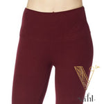 Misses Solid Burgundy Leggings - Wide Band | VAHL