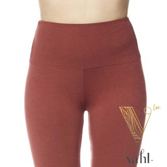 Plus Solid Marsala Leggings - Wide Band