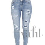 Judy Blue - Plus Distressed Patched Skinny Light Denim | VAHL