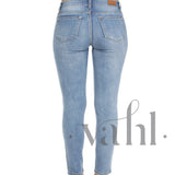 Plus Distressed Patched Skinny Light Denim