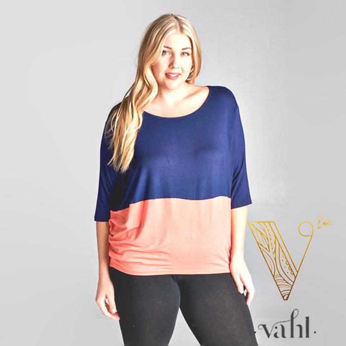 Plus Color Block Dolman Top - 1XL