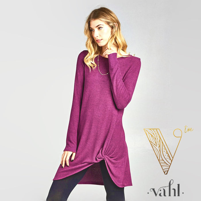 Brushed Hacci Long Sleeve Knotted Tunic : Small | VAHL