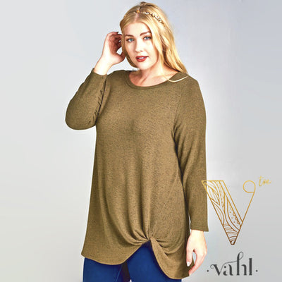 Brushed Hacci Long Sleeve Knotted Tunic | VAHL