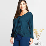 Plus Solid Jersey Draped Top : 3XL | VAHL